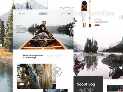 Sanborn Canoe Company lake footer website ui travel slider canoeing interface hero header