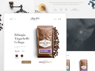 Lucky Goat Coffee map ecommerce product coffee website ui interface
