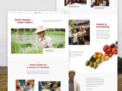 Proximity Designs Homepage global charity layout homepage farming myanmar website interface ui