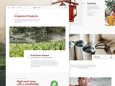 Proximity Designs Interior Page global charity layout interior farming myanmar website interface ui slider