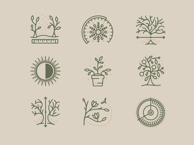 Just Fruits Icon Set weather flower sun tree plant line custom illustration collection iconography icons