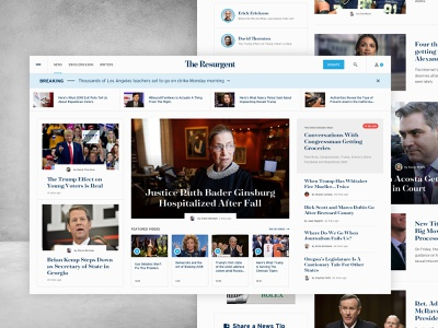 The Resurgent UI clean political news homepage hero web interface website ui