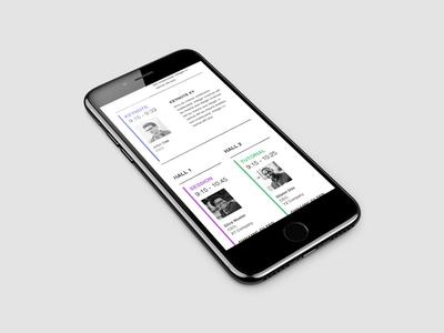 Mobile Agenda web. ux ui white conference agenda minimal design mobile