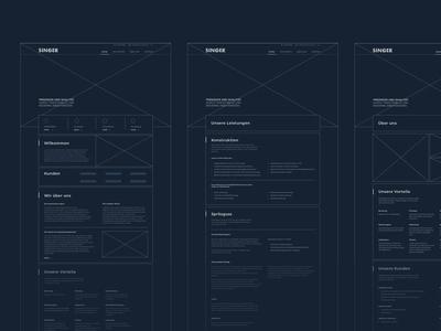 SINGER Web Wireframe concept design digital wip ux ui typography branding clean minimal website wireframe webdesign web design