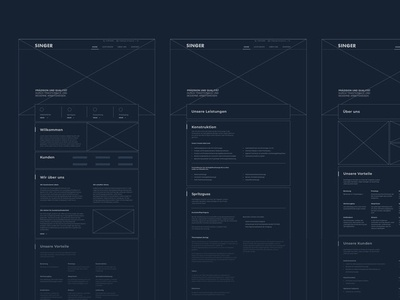 SINGER Web Wireframe concept design digital wip ux ui typography branding clean minimal website wireframe webdesign web design
