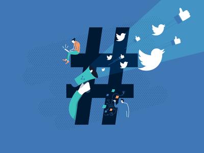 Illustration: Konzept und Marketing pr text growth twitter facebook media social online marketing concept illustration