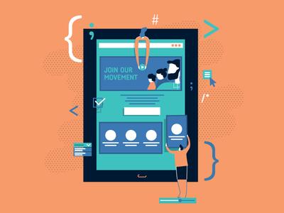 Illustration: IT und Online website software tech it ux flat web design online illustration