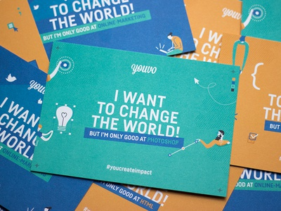 I want to change the world, but I'm only good at Photoshop. nonprofit social impact design photoshop illustration print postcard flyer