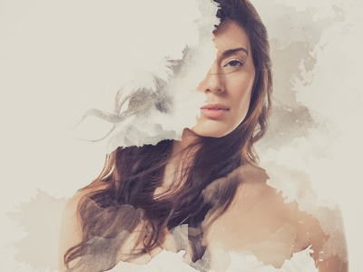 Deconstructed photography watercolor photoshop model woman parallax