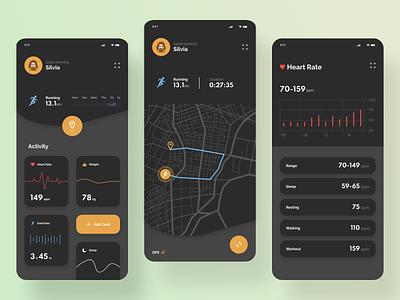 Activity Tracker App Design illustration running activities web minimal app ui ux design webdesigne design