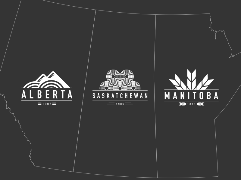 Prairie Wind Collection agriculture farming manitoba saskatchewan alberta logos illustration vector canada