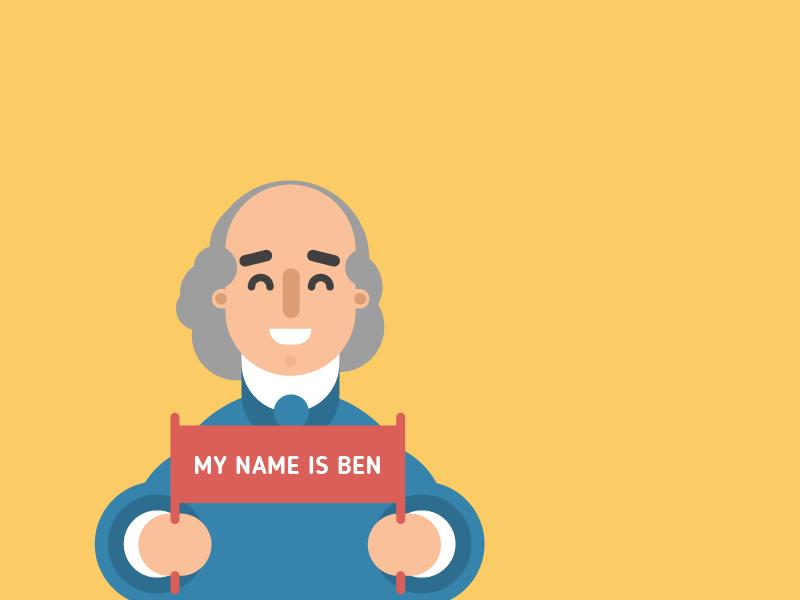 Ben benjamin franklin my name is character design illustration
