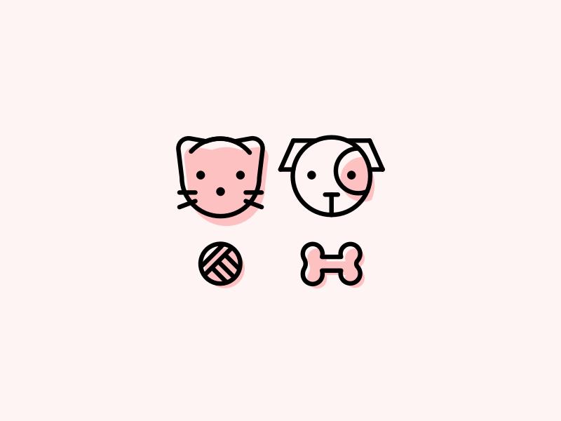 Pets icon pet shop cute kitten animal cat dog design icon logo illustraiton pets