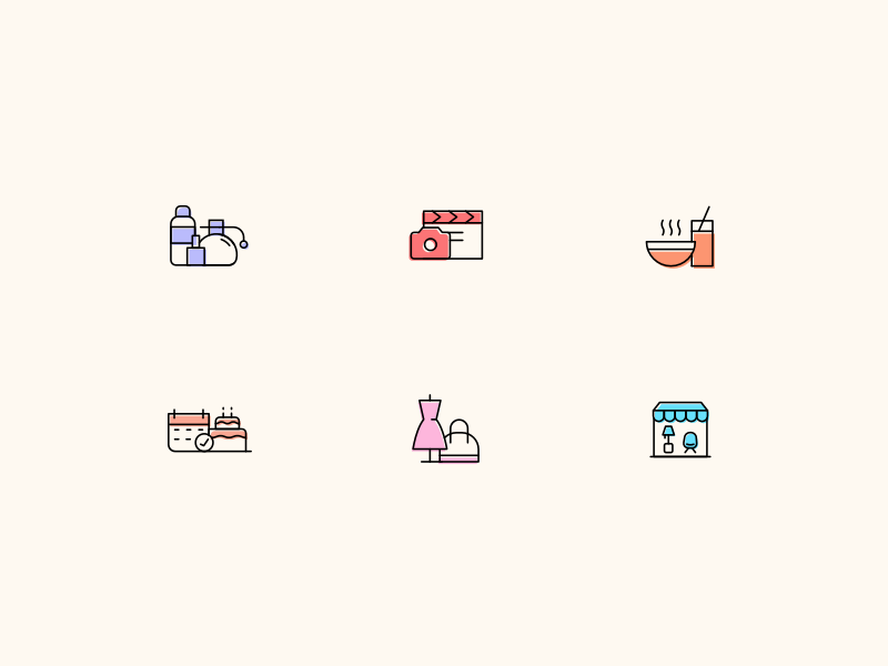 icons fashion retail beauty food small business design icons shop sketch