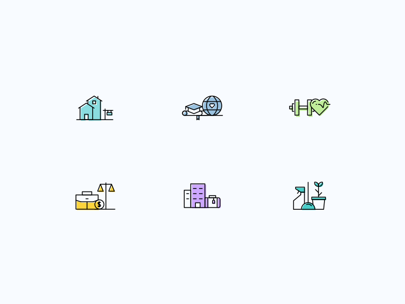 Icons housekeeping government apartment hotel education health house schook icons sketch