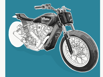 Indian motorbike illustration