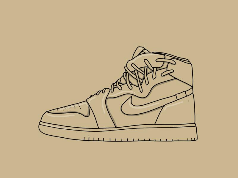 WMNS AIR JORDAN 1 REBEL drawing sneaker illustration apple pencil ipad adobe draw