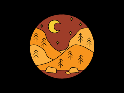 Oregon Wild Fire Season pacific northwest nature illustrator rocks stars yellow orange mountains moon pnw oregon woods wild fire forest fire illustration vector design