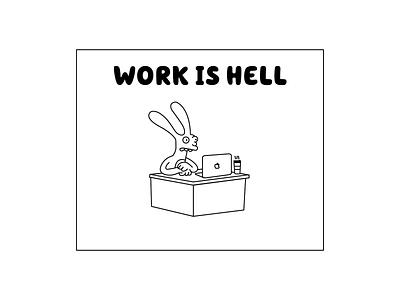 Work is Hell illustrator illustration design coffee desk computer work comic rabbit binky work is hell vector