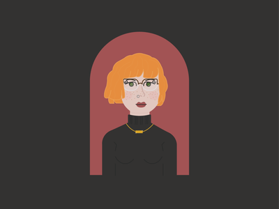 Self Portrait > Weekly Warm-Up girl freckles red hair turtleneck gothic vector portrait self portrait green eyes ginger red head woman person illustration