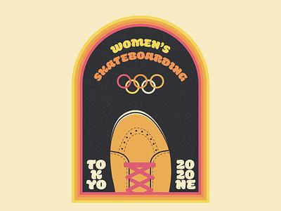Women's Skateboarding Badge 2020(1) Olympics illustrator design woman womens skateboarding retro 2020 tokyo olympics olympics summer vans skateboard skateboarding badge illustration vector
