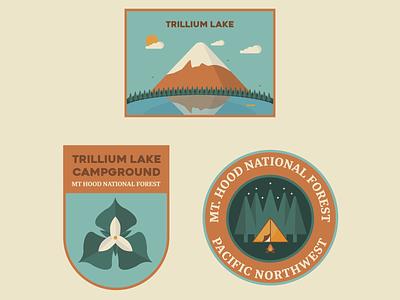 Trillium Lake, Mt Hood Badges great outdoors nature illustration vector illustrator reflection mountain woods forest tent camp fire lake badges pnw oregon pacific northwest mt hood trillium camping badge