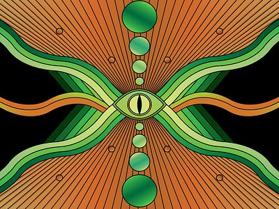 Snake Eye black green orange gradient 70s trippy psychedelic snake abstract illustrator illustration design vector