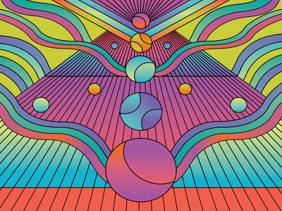 Colorful Things colorful rainbow balls waves pink gradients psychedelic trippy neon pattern abstract illustrator illustration design vector