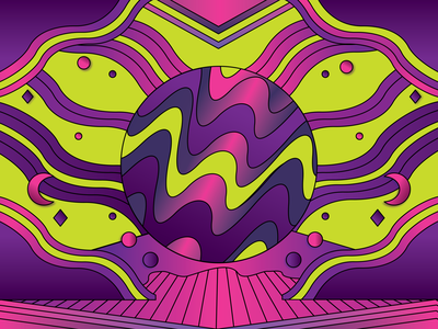 Abstract Experiment gradients psychedelic trippy tenticles moon lime green pink purple space galactic neon abstract illustrator illustration design vector