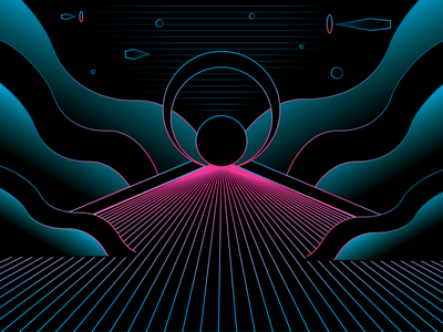 Wormholes blue pink space futuristic path circles vector illustrator illustration psychedelic moon neon alien world galactic cyber city future trippy abstract alien