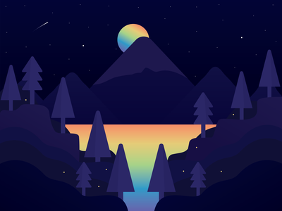 Lake Magic outdoors hiking trees woods design illustration vector twilight magic rainbow sky night river magical great outdoors camping forest night time night sky lake