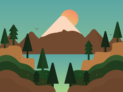 Lake Magic - Day brown green hills illustrator design vector outdoors swimming sunny hiking camping nature mountains river woods trees illustration great outdoors forest lake