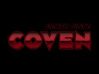 Death Note Coven occult spooky 80s aesthetic 1980s vector vintage retrowave blood stars halloween 70s horror retro red death witchy coven typography 80s