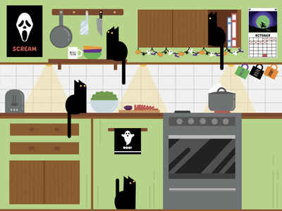 A millennial cat lady's kitchen, ready for spooky season. cat lady ghost horror illustrator october spooky calendar mug oven toaster cooking scream rae dunn cat kitty black cat decorations halloween kitchen illustration