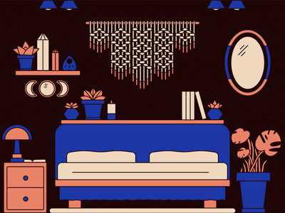 Cottagecore Cozy crystals witchy cottage core home design vector illustrator illustration candle planters lamp side table cozy shelf mirror plants macrame bedroom cottagecore cottage