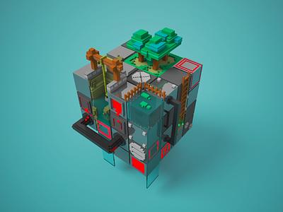 Metalcube magicavoxel 3d voxel voxelart