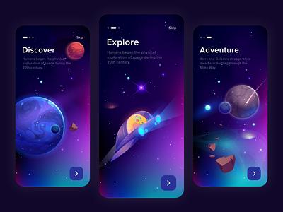 Free Universe App walkthrough spaceship universe illustration iphone x minimal vector design ux beautiful ux design ui design ui clean
