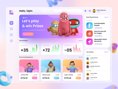 Gaming Dashboard Design - New Project user interface 3d animation design ui design beautiful ux design ux ui clean