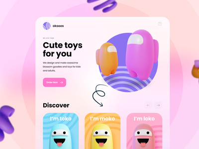 okooos - Cute toys for all design ui design beautiful ux design clean web app work app kids app kids toysapp toys workstation goodies buy sell product cute toys ux ui