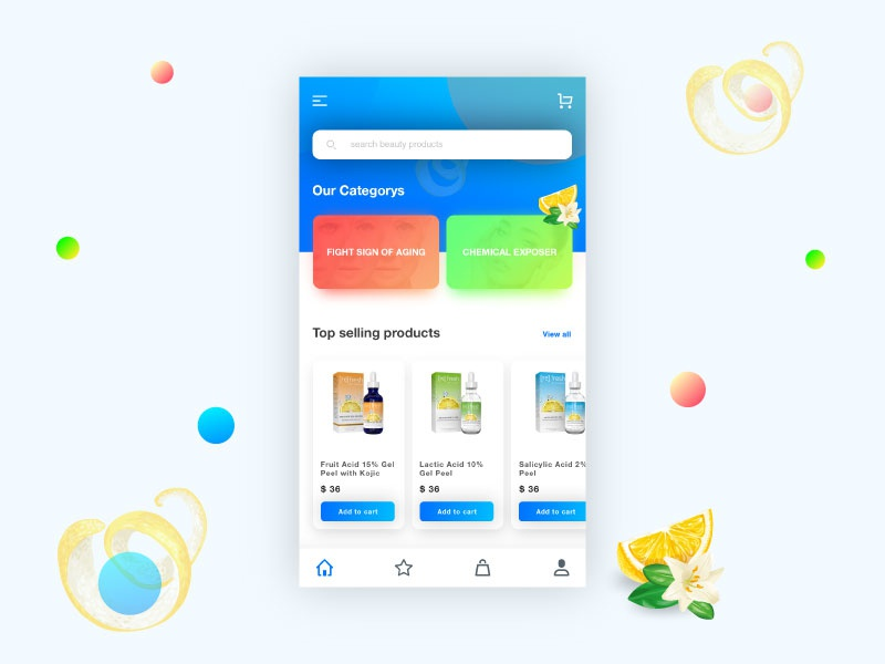 Beauty Products App UI/UX colorful gradients modern clean ux design ui design ios iphone x beautiful