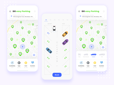 Easy Parking animation gif parking rasy car intuitive minimalist minimal iphone x ios design vector ui design ui ux design ux illustration clean