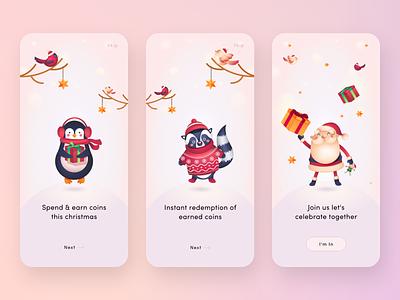 Spend & Earn Christmas app christmas fun walkthrough intuitive minimal iphone x ios design ui design vector beautiful ux design ux ui clean