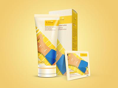Packaging Design - Lines Cosmetics cosmetics skin tube sun protection swimming women men skincare sunscreen packaging design graphic design illustration pratikartz