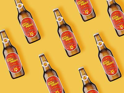 Beer Label Design -Gun Point typography crown drinks label design gun point alcohol branding beer shot branding graphic design illustration pratikartz