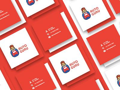 Auto Guru - Branding mascot logo automobile auto logo visiting card business card design stationery print design design branding shot graphic design illustration pratikartz