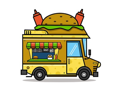 Food Truck cheese burger flat icon vehicle cheese pratikartz illustration vector graphic design icon burger food food truck
