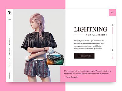 Lightning: A Virtual Heroine | Louis Vuitton louis vuitton final fantasy woman fashion lightning pink minimalism ui