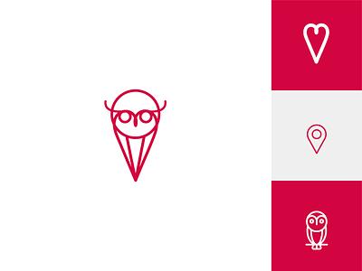 Find Love Owl location owl love illustration yatfff creative icon mark branding design logos brand logo