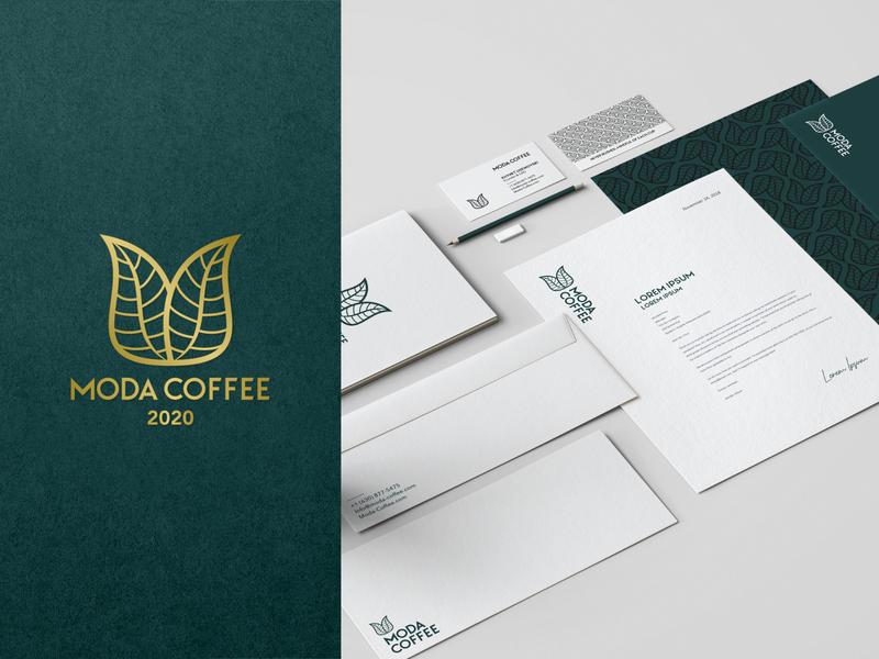 Moda Coffee - Branding luxury m coffeeshop coffee coffe 2d ui creative icon mark branding design logos brand logo