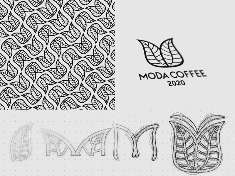 Moda Coffee - Sketches & Pattern ux icon lineart minimal m leaves logo coffee branding design logos brand logo pattern